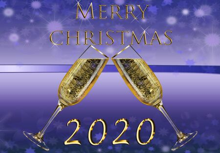 Beautiful golden words on blue background. Merry christmas 2020 card