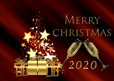 Christmas background with tree and gifts. Merry christmas 2020 card Stock Photo