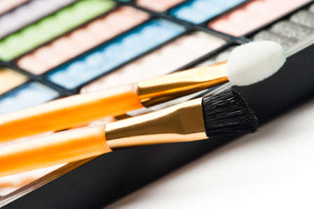The palette for makeup with two brushes Stock Photo - 7081050