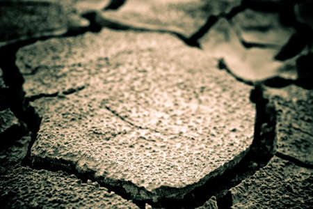 fissures: The soil in the fissures appeared on the long-term heat Stock Photo