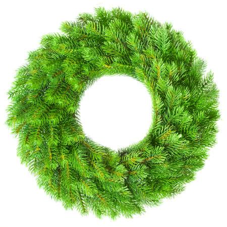 Groene ronde kroon van Kerst mis op witte achtergrond
