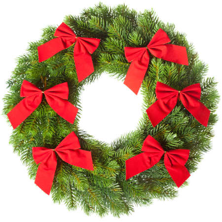christmastree: Green round Christmas wreath on white background