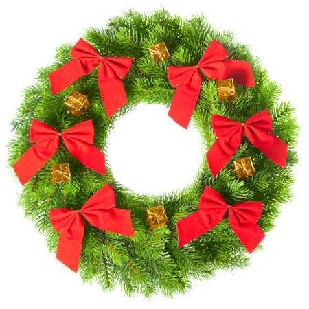 Green round Christmas wreath on white background photo
