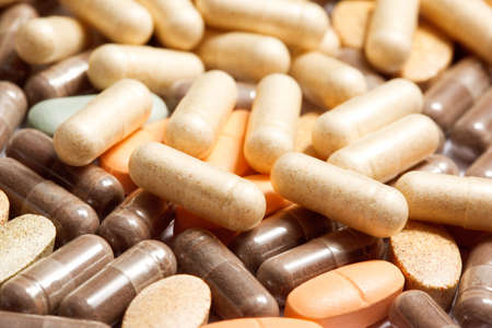 vitamines: Medicinal pills piled up a bunch of closeup