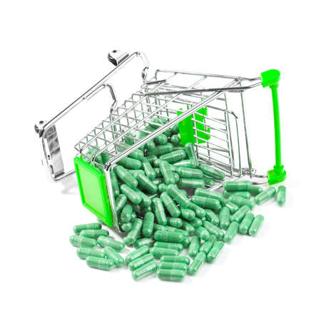 vitamines: Carts on a white background filled with pills