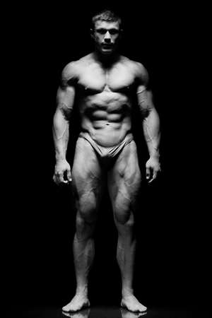 desnudo masculino: El chico joven hermosa y fuerte Foto de archivo