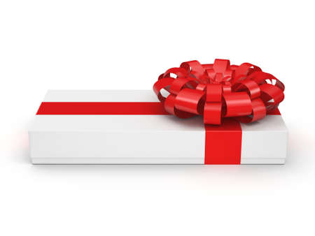 gift parcel: White gift box with red ribbon bow