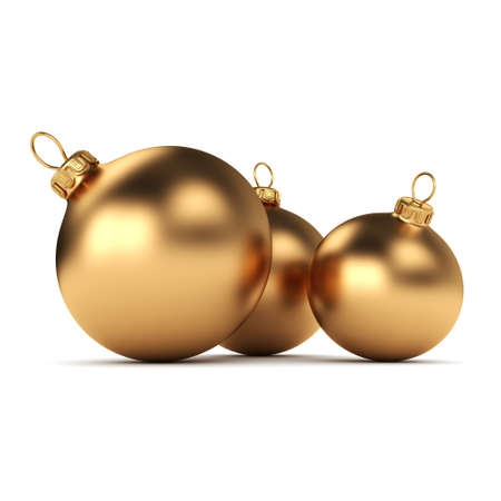 gold ornaments: Gold Christmas ball on a white background