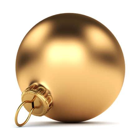 christmas balls: Gold Christmas ball on a white background