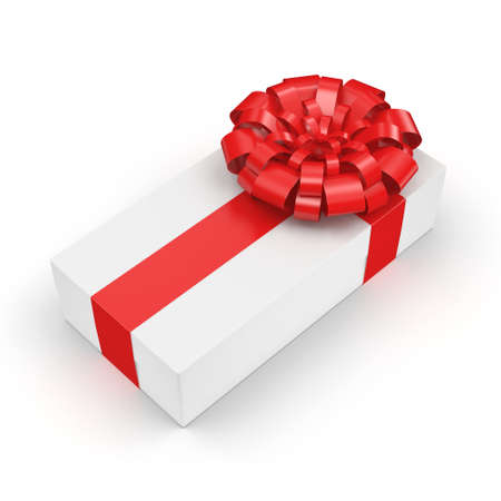 ribbon bow: White gift box with red ribbon bow