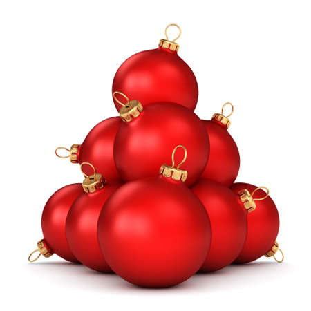 group of christmas baubles: Red Christmas ball on a white background Stock Photo