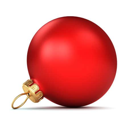 Red Christmas bal op een witte achtergrond