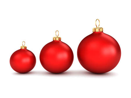 red christmas ball: Red Christmas ball on a white background Stock Photo