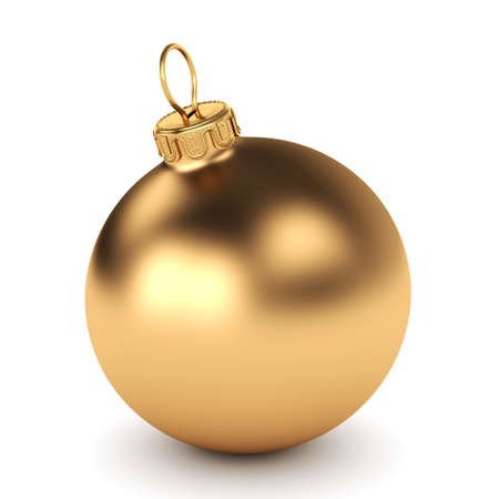 new ball: Gold Christmas ball on a white background