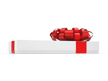White gift box with red ribbon bow