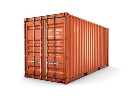 Geïsoleerd lading container op de witte achtergrond