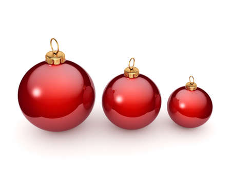 Red glossy christmas ball on  white background Stockfoto