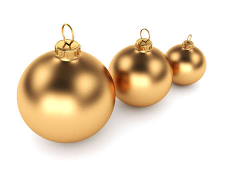 group of christmas baubles: Gold Christmas ball on a white background
