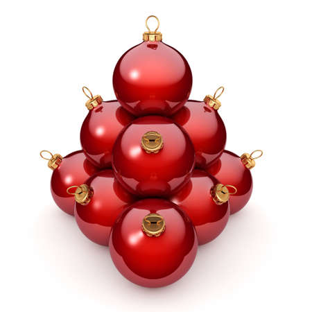 red christmas ball: Red glossy christmas ball on  white background Stock Photo
