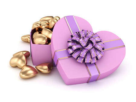 heart shaped box: Heart shaped box full of gold hearts