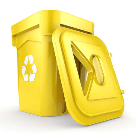 environmentalist: Yellow Recycling Bin isolated on white background