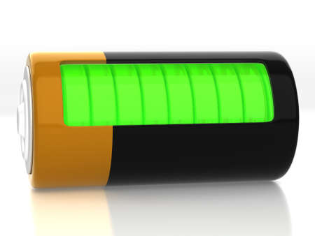 descriptive: A battery model with semitransparent glassy side
