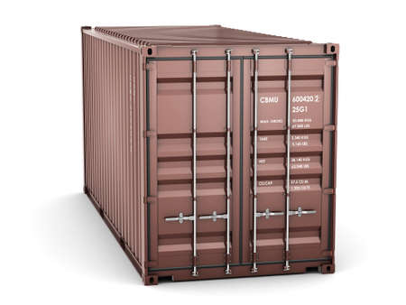 cargo container: Isolated cargo container on the white background