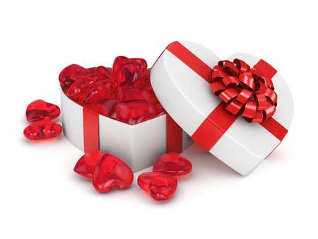 heart shaped box: Heart shaped box full of red hearts