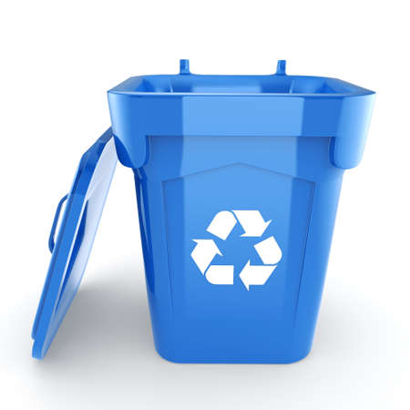 environmentalist: Blue Recycling Bin isolated on white background Stock Photo