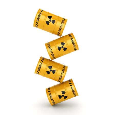 Jaunes barils radioactifs sur un fond blanc Banque d'images