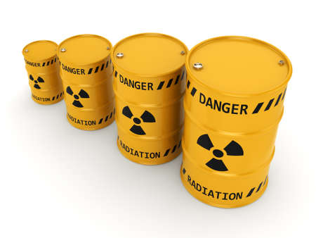 radioactive: Yellows radioactive barrels on a white background