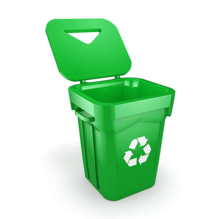 dumpster: Green recycling bin isolated on white background