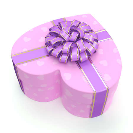 heart shaped box: Pink heart shaped box with purple ribbon Stock Photo