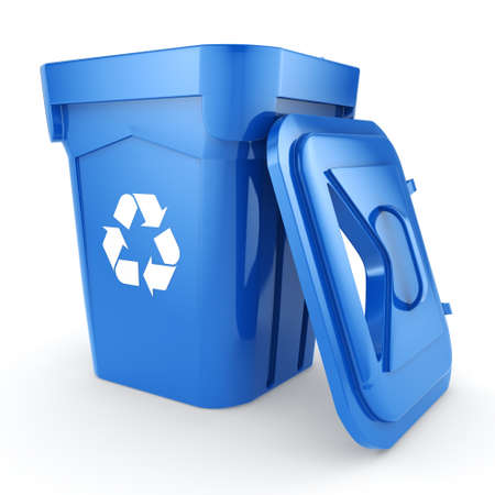 wastebasket: Blue Recycling Bin isolated on white background Stock Photo