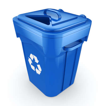 landfill: Blue Recycling Bin isolated on white background Stock Photo
