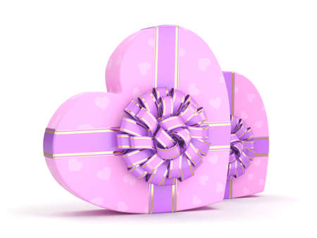 purple ribbon: Pink boxes with heart shaped purple ribbon