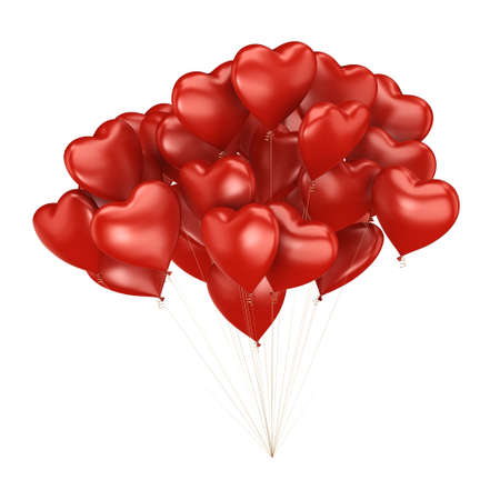 3D rendering a bunch of red balloons