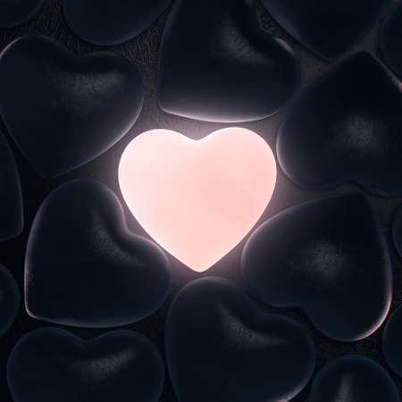 rebirth: 3D rendering beautiful glowing heart on a dark background Stock Photo