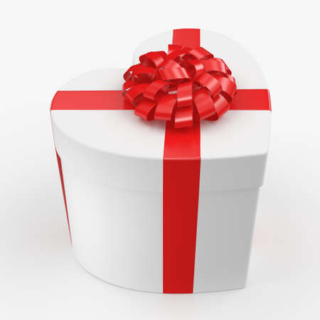 White box with heart shaped red ribbon Stock Photo