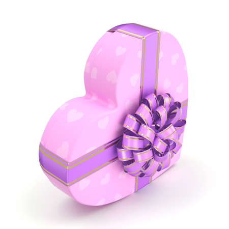 fourteenth: Pink boxe with heart shaped purple ribbon Stock Photo