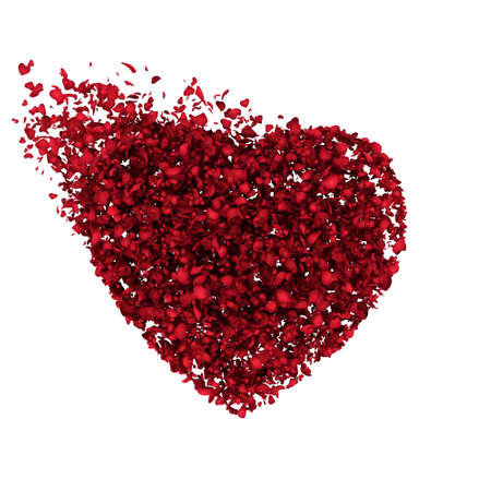 love blast: 3D rendering of a red heart particles Stock Photo