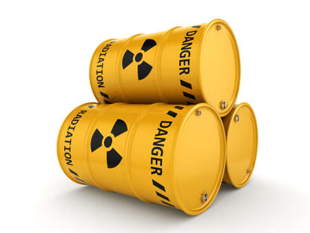 toxic substance: Yellows radioactive barrels on a white background