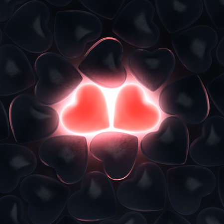 rebirth: 3D rendering beautiful glowing hearts on a dark background