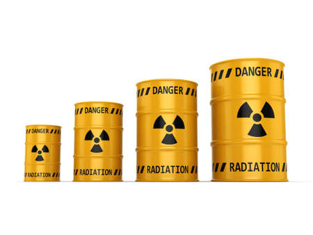 Yellows radioactive barrels on a white background