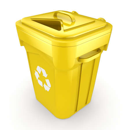 landfill: Yellow Recycling Bin isolated on white background