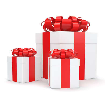 White gift boxes with red ribbon bow Stock Photo