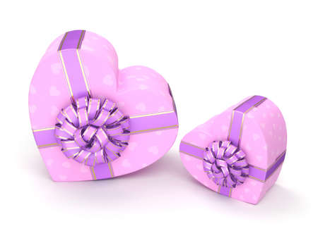 fourteenth: Pink boxes with heart shaped purple ribbon