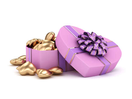heart shaped box: 3D rendering pink heart shaped box with ribbon and bow