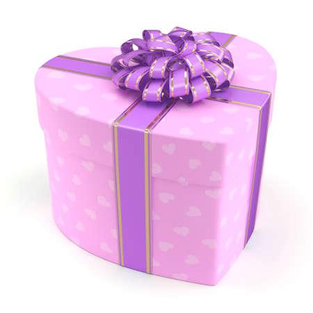Pink boxe with heart shaped purple ribbon Stock Photo