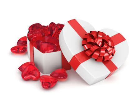 fourteenth: 3D rendering white box in the shape of a heart with a red ribbon